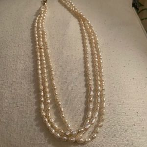 Elegant Genuine Triple Strand Seed Pearl Necklace